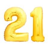 Złota liczba 21 dwadzieścia jeden zrobił nadmuchiwany balon Zdjęcie Stock