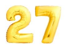 Złota liczba 27 dwadzieścia siedem zrobił nadmuchiwany balon Zdjęcie Royalty Free