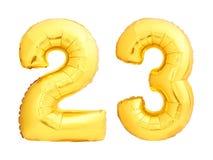Złota liczba 23 dwadzieścia trzy zrobił nadmuchiwany balon Obrazy Stock