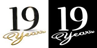 Złota liczba dziewiętnaście liczy 19 i wpisowych rok z opadowym cieniem i alfa kanałem ilustracja 3 d royalty ilustracja