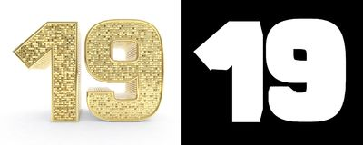 Złota liczba dziewiętnaście liczba 19 na białym tle z opadowym cieniem i alfa kanałem ilustracja 3 d royalty ilustracja