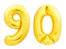 Złota liczba 90 dziewiećdziesiąt zrobił nadmuchiwany balon zdjęcie stock