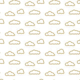 Złota linia chmurnieje wektorowego bezszwowego wzór Zwarty niebo druk dla tkaniny royalty ilustracja
