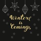 Złota literowanie zima przychodzi z boże narodzenie dekoracjami i Zdjęcia Stock