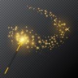Złota magiczna różdżka z jarzeniowym lekkim skutkiem na przejrzystym tle również zwrócić corel ilustracji wektora ilustracji