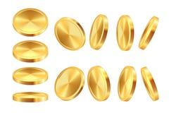 Złota mennicza animacja Realistycznej pieniądze kasynowej waluty złoty dolar ukuwa nazwę gemowego moneta szablon 3D gotówki najwy ilustracja wektor