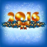 Złota nowego roku 2016 i Xmas dekoracja royalty ilustracja