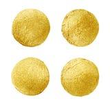 Złota okrąg plama Abstrakcjonistyczna ręka malujący złocisty tło Obraz Stock