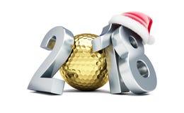 Złota piłka dla golfa 2018 nowy rok nakrętka Santa na białej tła 3D ilustraci, 3D rendering royalty ilustracja
