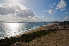 Złota piasek plaża Zdjęcia Royalty Free