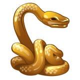 Złota postać wąż Chiński horoskopu symbol Wschodnia astrologia Rzeźba odizolowywająca na białym tle wektor royalty ilustracja