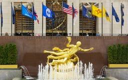 Złota Prometheus statua przy Rockefeller centrum zdjęcie royalty free