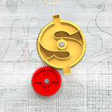 Złota przekładnia z dolarowym symbolem Fotografia Stock