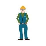 Złota rączka jest ubranym prac ubrania i pasek z narzędziami ilustracji