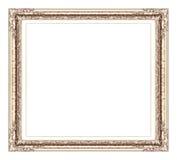 Złota rama odizolowywająca na białym tle z ścinek ścieżką, Obraz Royalty Free