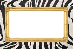 Złota rama z zebry tekstury tłem Zdjęcia Stock