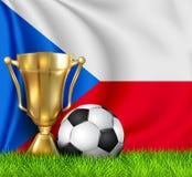 Złota realistyczna zwycięzcy trofeum filiżanka i piłki nożnej piłka odizolowywająca na krajowym republika czech zaznaczamy Dru?yn ilustracja wektor