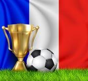 Złota realistyczna zwycięzcy trofeum filiżanka i piłki nożnej piłka odizolowywająca na obywatelu Francja zaznaczamy Dru?yna narod ilustracji