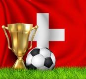 Złota realistyczna zwycięzcy trofeum filiżanka i piłki nożnej piłka odizolowywająca na obywatelu SZWAJCARIA zaznaczamy Drużyna na royalty ilustracja
