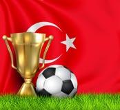 Złota realistyczna zwycięzcy trofeum filiżanka i piłki nożnej piłka odizolowywająca na obywatelu Turcja zaznaczamy Drużyna narodo ilustracja wektor