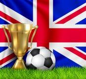 Złota realistyczna zwycięzcy trofeum filiżanka i piłki nożnej piłka odizolowywająca na obywatelu Zjednoczone Królestwo zaznaczamy ilustracji