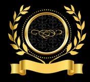 Złota ringowa etykietka z gałązkami oliwnymi Zdjęcia Royalty Free