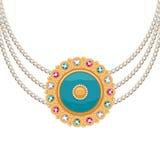 Złota round breloczek kolia z biżuterią Zdjęcie Royalty Free
