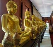 Złota siedząca Buddha rzeźby linia w pawilonie Zdjęcia Royalty Free