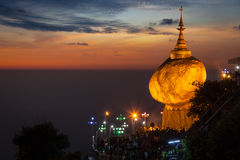 Złota skała - Kyaiktiyo pagoda, Myanmar Obraz Royalty Free