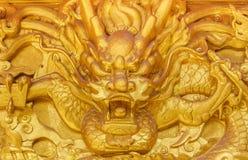 Złota smok ściana Fotografia Royalty Free