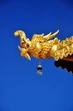 Złota smok głowa z niebieskim niebem Fotografia Stock