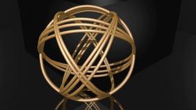 Złota spheric kępka komponująca złoci pierścionki Przedmiota wirować nierówny na czarnym tle Odzwierciedlać geometryczny ciało da royalty ilustracja