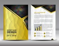 Złota sprawozdania rocznego broszurki ulotki Okładkowy szablon Fotografia Royalty Free