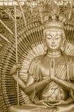 Złota statua Guan Yin z 1000 rękami Guanyin Yin lub Guan ja Zdjęcie Royalty Free