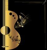 złota tło gitara ilustracji