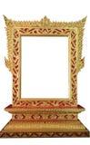 Złota Tajlandzka rama odizolowywająca Fotografia Royalty Free