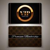 Złota VIP karty, wektorowa ilustracja Fotografia Royalty Free