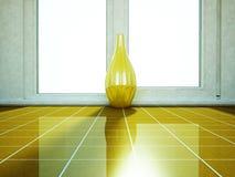 Złota waza stoi blisko okno ilustracja wektor