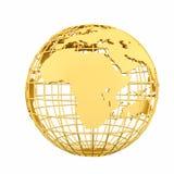 Złota Ziemska planety 3D kula ziemska odizolowywająca Zdjęcia Stock