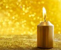 złote świece Złociści błyskotliwi bożonarodzeniowe światła Zamazany abstra Obrazy Stock