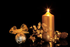 złote Boże Narodzenie dekoracje Zdjęcia Stock