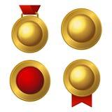 Złote etykietki i medale Ustawiający wektor Zdjęcie Royalty Free