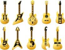 Złote gitary Fotografia Royalty Free