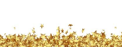 Złote gwiazdki na Zmielonej panoramie - Biały tło ilustracja wektor