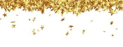 Złote gwiazdki Spada na Zmielonej panoramie - Biały tło Zdjęcia Stock
