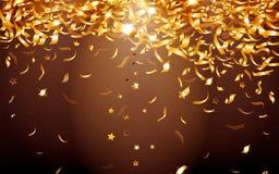 Złote gwiazdy na Czarnym tle ilustracja wektor