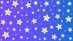 Złote gwiazdy w Błękitnym i Purpurowym tle ilustracji