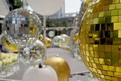 Złote i srebne Bożenarodzeniowe dekoracje Obraz Stock