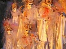 złote karnawałowe złote maski Zdjęcia Royalty Free