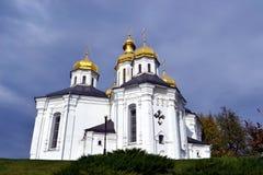 Złote kopuły kościół chrześcijański Obrazy Royalty Free